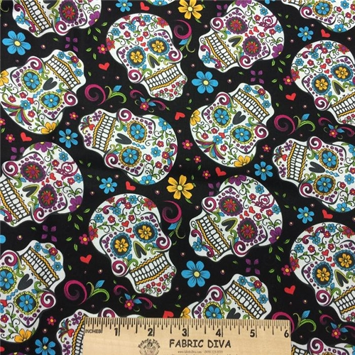 Cotton - Day of the Dead Skulls Black