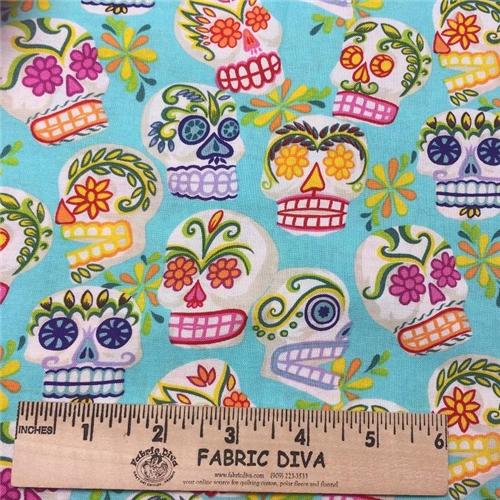 Cotton - Dia de Los Muertos Skulls Turquoise