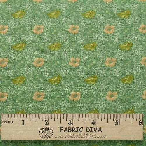 Flannel Fabric - Small Flowers on Green