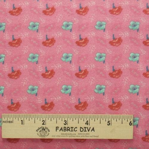 Flannel Fabric - Small Flowers on Pink