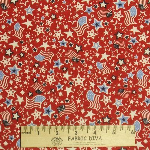 Cotton - Tiny USA Flags & Stars