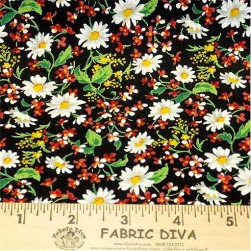 Cotton - Tiny Daisy Black