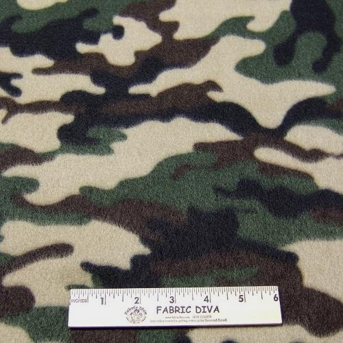 Camo Green/Tan  Fleece Fabric BTY