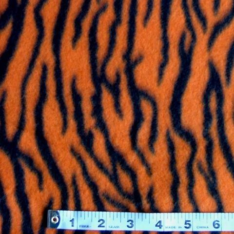 <B>2 YARDS</B>Tiger Orange/Black  Fleece Fabric