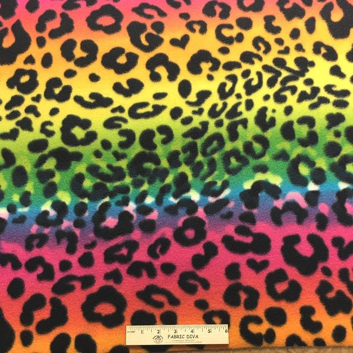 Rainbow Cheetah Antipill Fleece Fabric