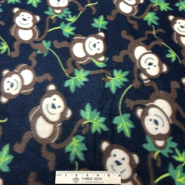 <b>2 YARDS </b>Swinging Monkey Navy Fleece Fabric