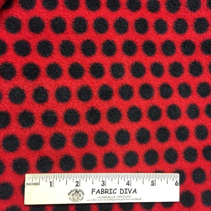 <b>2 YARDS</b> Black Polka Dots on Red Fleece Fabric