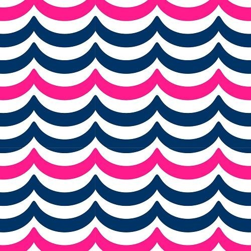 Pink & Blue Wavy Fleece Fabric