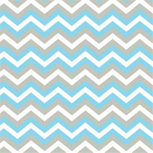 Blue Grey Chevron Antipill Fleece Fabric