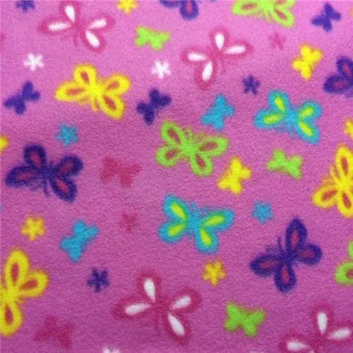 <B>2 YARDS</B>Bright Pretty Butterfly Fleece Fabric