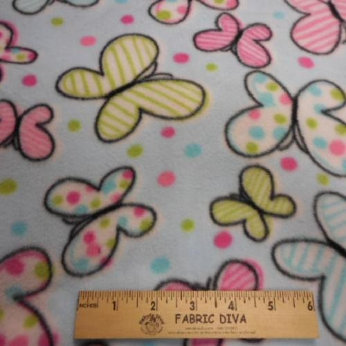 NEW! 2 YARD LENGTH Floating Butterfly on Blue Antipill Fleece Fabric