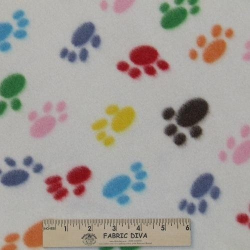 Lots of Colorful Paws Fleece Fabric