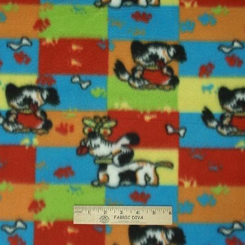 Puppy Dog Patchwork Fleece Fabric