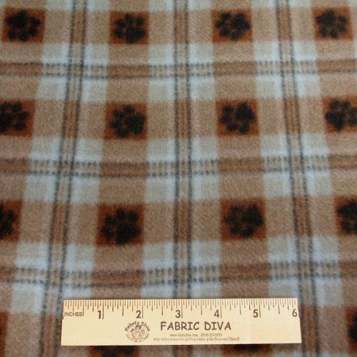 Paw Print Plaid Blue Fleece Fabric