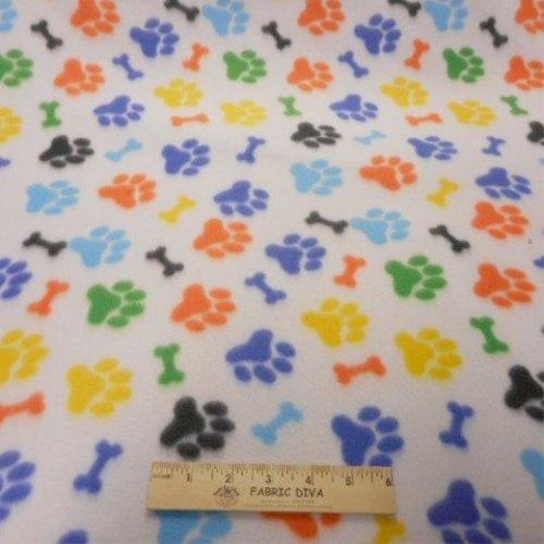 Multicolor Dog Paw & Bone Fleece Fabric