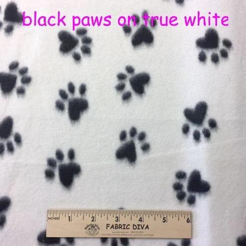 Artic White Black Paw Print Fleece Fabric