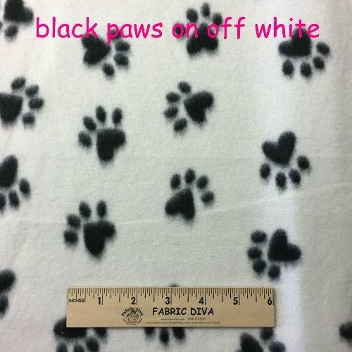 Cream /Black Paw Fleece Fabric