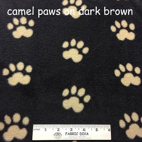 Camel Paw Print on Brown Antipill Fleece Fabric