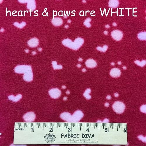 SALE! Small Paw Print & Heart Red Antipill Fleece Fabric
