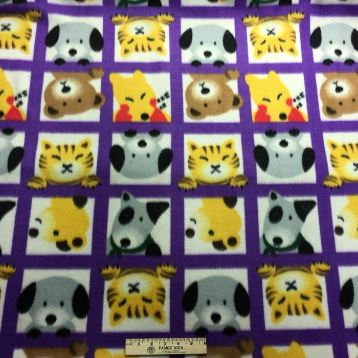 new! Dog Cat Faces Purple Square Fleece Fabric