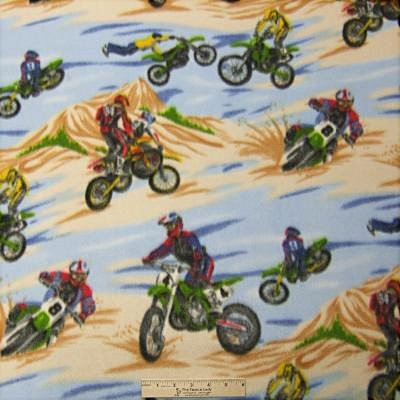 Dirt Bike Dunes  Fleece Fabric