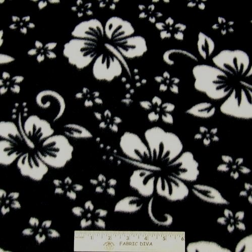 Hawaiian Hibiscus Black/White Fleece Fabric