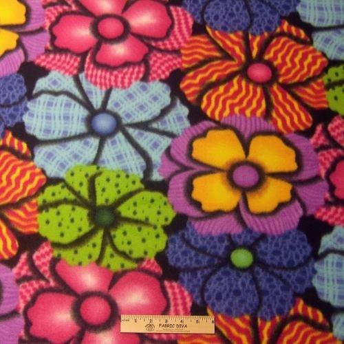 <B>2 YARDS</B> Bold Bright Gingham Flower Fleece