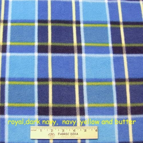 Royal & Navy Plaid Fleece Fabric