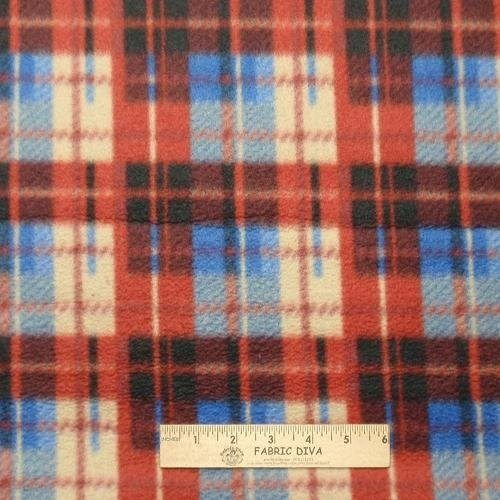 Blue Red Tan Plaid Fleece Fabric 1.5 yards LAST PIECE