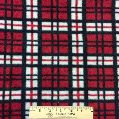Small Plaid Red/BlackAntipill Fleece Fabric