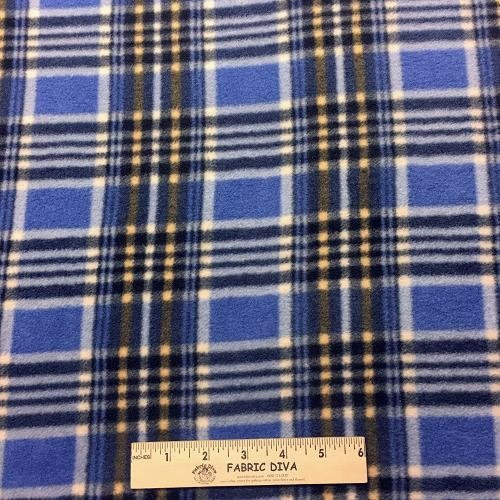 Gent's Blue Plaid Fleece Fabric
