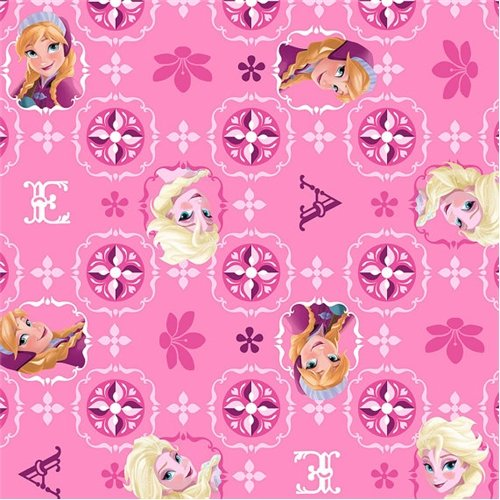 Cotton - Disney Frozen Elsa Anna Glitter Pink Cotton Fabric