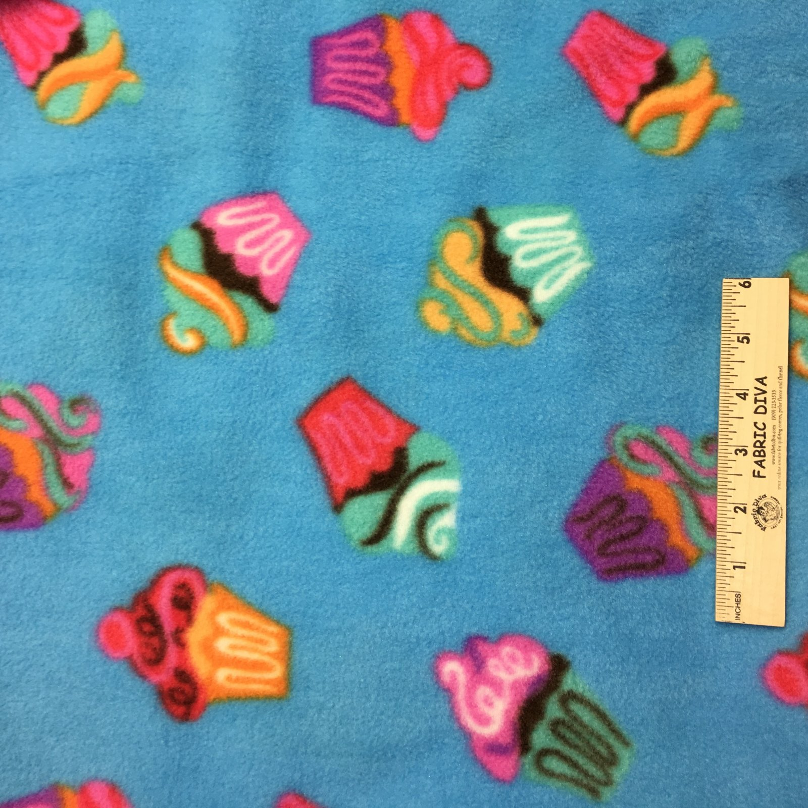 <B>2 YARDS</B> Blue Cupcake Baking  Fleece Fabric