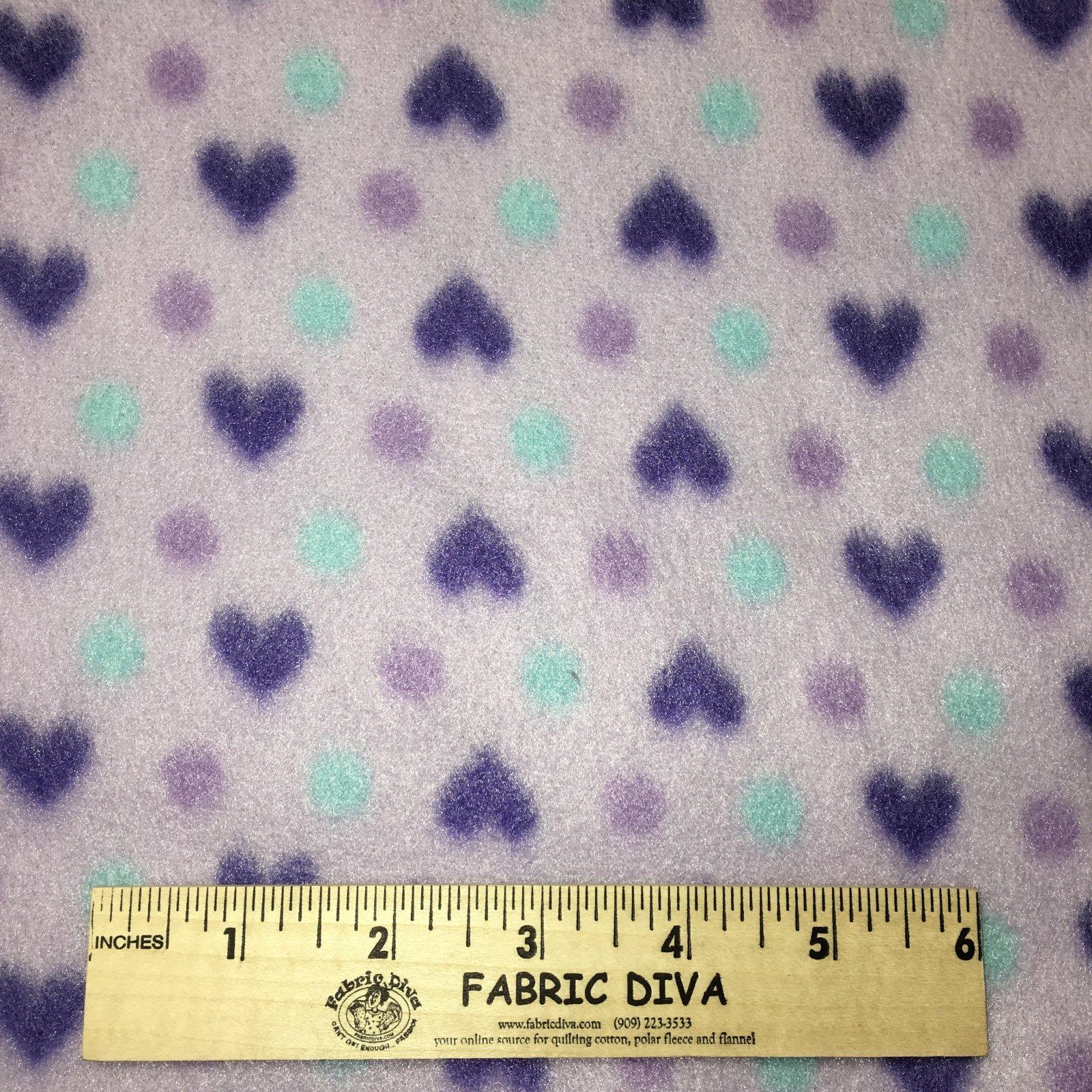 <B>2 YARDS</B>Aqua Dot & Purple Heart Fleece Fabric