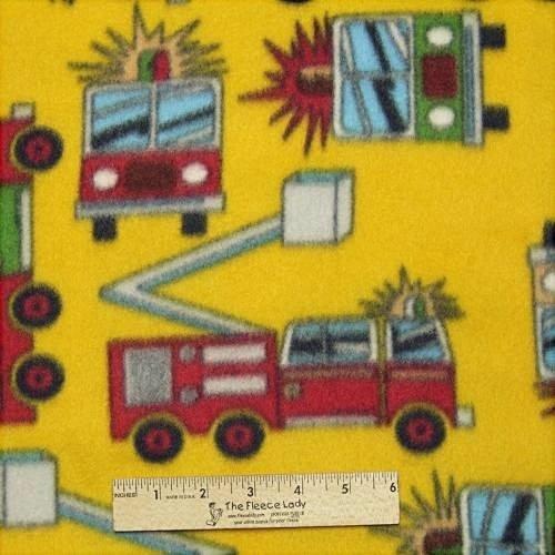 Kid's Firetruck Gold Fleece Fabric BTY