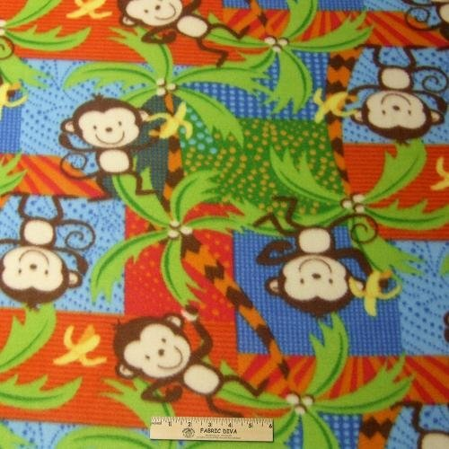 Goin' Bananas Monkey Fleece Fabric BTY