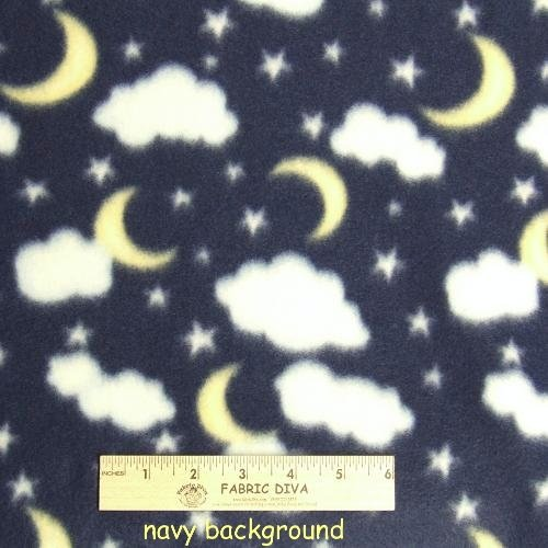 Cloud and Moon Navy Fleece Fabric