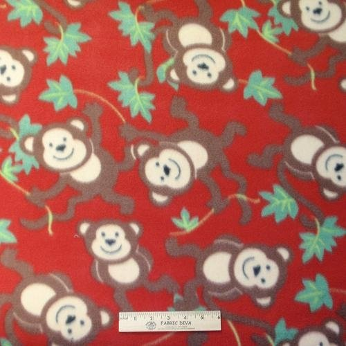 <B>2 YARDS</B>  Swinging Monkey Red Fleece Fabric
