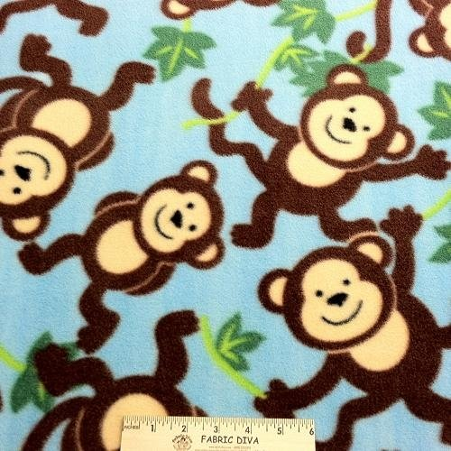 <B>2 YARDS</B>  Swinging Monkey Aqua Fleece Fabric
