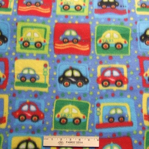 <B>2 YARDS</B>  Boy's Cars & Taxi Blue Fleece Fabric