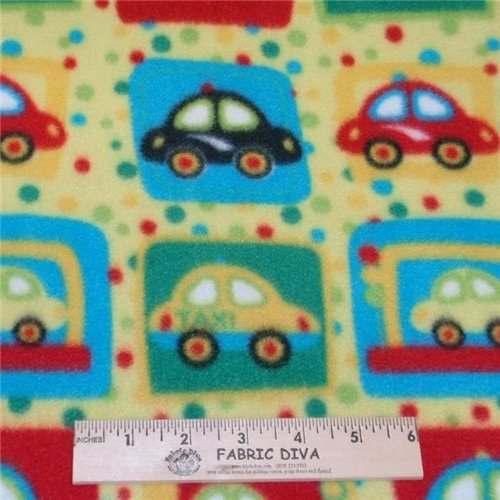 Boy's Car & Taxi Yellow Antipill Fleece Fabric
