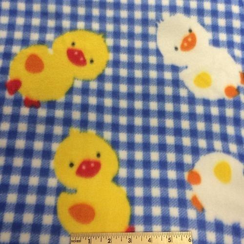 <B>2 YARDS</B>Chicks Blue Gingham Fleece Fabric