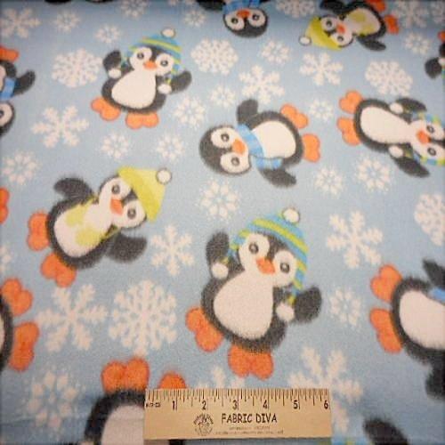 Penguin & Snowflake Fleece Fabric