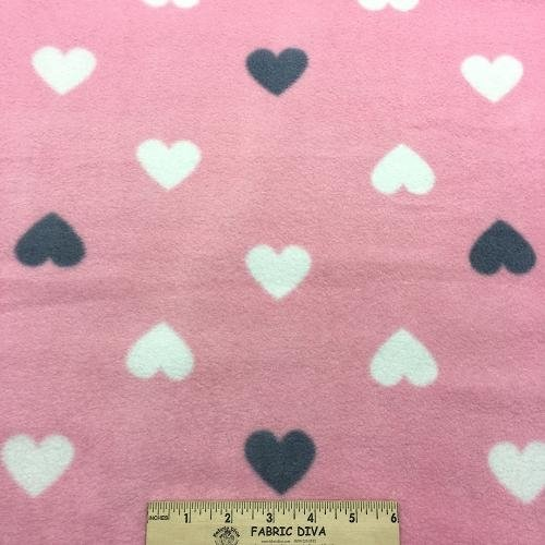 White/Denim Heart on Pink Antipill Fleece Fabric