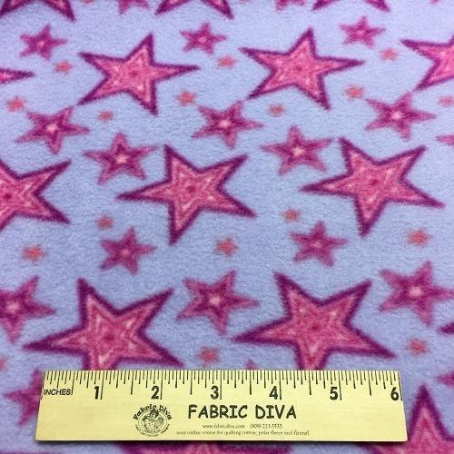 Pink Framed Star Antipill Fleece Fabric