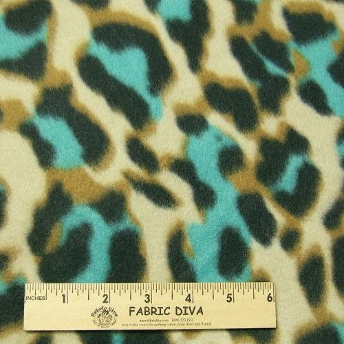 Jade Leopard Print  Fleece Fabric