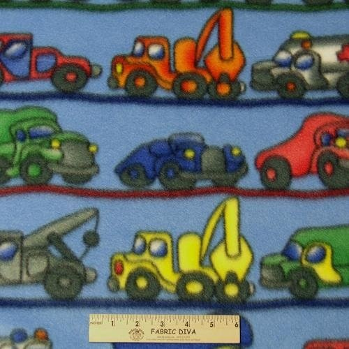 Lots of Trucks Fleece Fabric BTY
