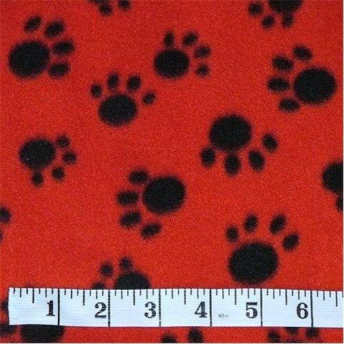 Paw Print Red/Black Fleece Fabric