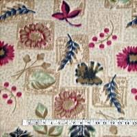 Leaves & Flowers Tan Fleece Fabric