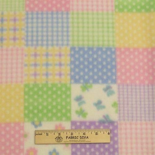Small Pastel Patchwork Fleece Fabric